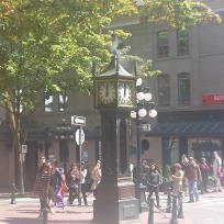 Famous steam clock in Vancouver, B.C. where we had another amazing meal at an Italian place in old town (not pictured).